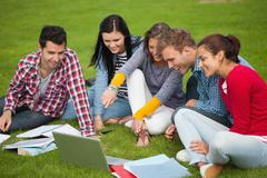 Stock Photo of Five students sitting on the grass pointing at laptop