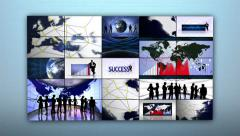 Business Montage and Success Center Text in Monitors - stock footage