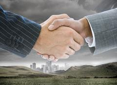 Business handshake on background of buildings and landscape - stock illustration