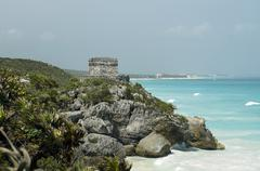 Ruins and beaches of tulum - stock photo