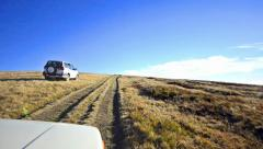 off-road driving through a macedonian mountain plateau - stock footage