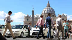 Tourists, taxis & St Peters - stock footage