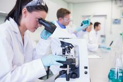 Busy researchers working on experiments in the lab - stock photo