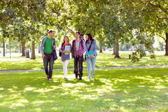Froup of college students walking in the park Stock Photos