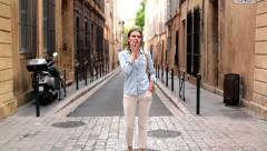 Lost woman in the city looking around HD Stock Footage