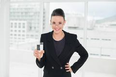 Elegant business woman with a glass of water in office Stock Photos