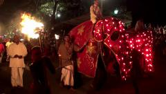Procession of the Grand festival Esala Perahera (the festival of the tooth). Stock Footage