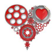 3d gears and heart - stock illustration