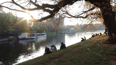 Berlin sunset by the canal Stock Footage