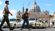 Stock Video Footage of St Peters, guided tourists & taxis