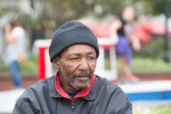 African american homeless man Stock Photos