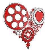heart and gears - stock illustration