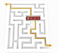 labyrinth of love - stock illustration