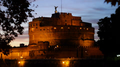 Castel SantAngelo at Dusk 1 Stock Footage