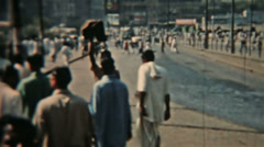 India Circa 1960 vintage Busy road people carts and cars HD 0079 Stock Footage
