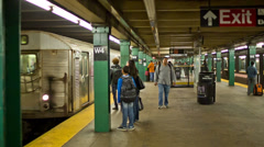 Subway Train Pulls into Station - stock footage