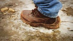 Shoes break the ice Stock Footage