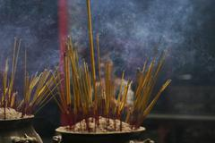 incense and worship - stock photo