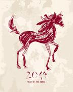 chinese new year of the horse abstract red shape file. - stock illustration