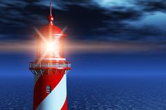 Lighthouse at dark night in ocean Stock Illustration