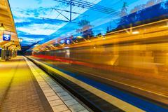 Evening railway station - stock photo
