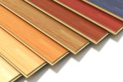 Set of color wooden laminated construction planks - stock photo