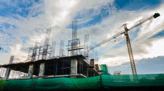 Time lapse silhouette labor working in construction site Stock Footage