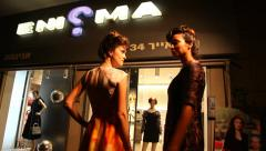 Supermodels catwalk Haute Couture top fashion by Enigma fashion house Stock Footage