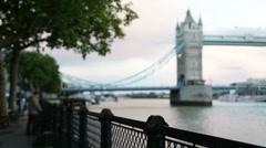 London woman tourist taking photo on Tower Bridge Stock Footage
