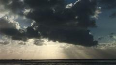 Big sky over shoreline Stock Footage