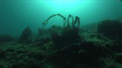 Fishing net underwater Stock Footage