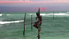 Traditional stilt fisherman. Sri Lanka. - stock footage