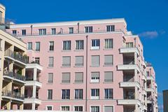New pink townhouse - stock photo