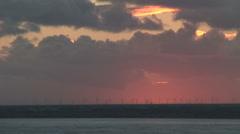 Wind turbines at sunset - stock footage