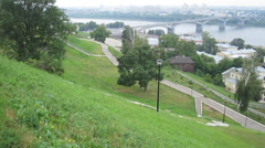 Beautiful panorama early morning view of summer Fedorovsky Embankment - stock footage