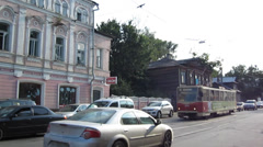 Evening tram in the center going near Business centre Lobachevsky Plaza - stock footage