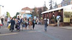 Evening view of pedestrian street Bolshaya Pokrovskaya in Nizhny Novgorod - stock footage