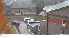 Heavy rain in july at the old street Gogolya Nizhny Novgorod - stock footage
