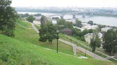 July panoramic view of summer morning Fedorovsky Embankment Nizhny Novgorod - stock footage