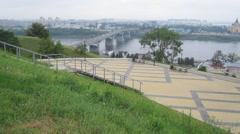 July view of summer morning Fedorovsky Embankment Nizhny Novgorod - stock footage