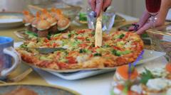 Vegetarian pizza. Stock Footage