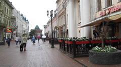 Summer evening rain at historical pedestrian street Bolshaya Pokrovskaya Stock Footage