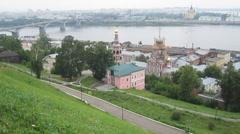 Summer view of Fedorovsky Embankment Nizhny Novgorod Russia - stock footage