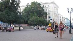 Tourist train traveling at Bolshaya Pokrovskaya street Nizhny Novgorod Russia Stock Footage
