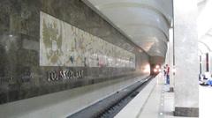 Train arrives at the station subway Gorky in Nizhny Novgorod - stock footage
