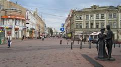 Summer evening at street Bolshaya Pokrovskaya Nizhny Novgorod - stock footage