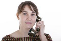 Talking on phone Stock Photos