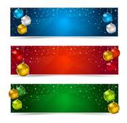 Set of Colorful Horizontal Polygon Christmas Banners Stock Illustration