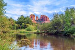 horizontal view of cathedral rock - stock photo