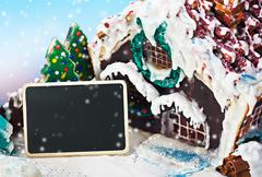 gingerbread house and candy for the holiday merry christmas - stock photo